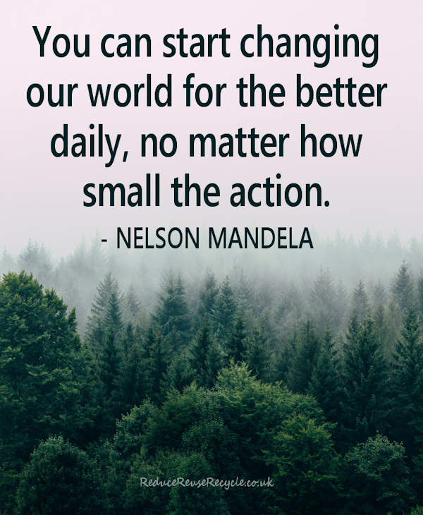 You can start changing our world for the better daily, no matter how small the action. Nelson Mandela